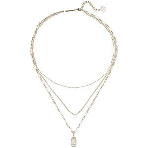 Elisa Mother of Pearl Gold Triple Strand Necklace